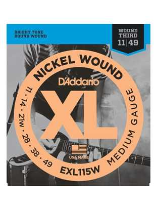D'Addario EXL115W Medium Blues-Jazz Rock, Wound 3rd