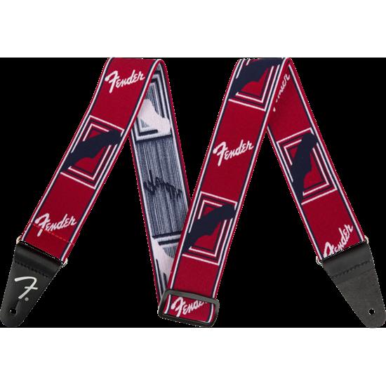 Bild på Fender Weighless Monogrammed Red/white/blue strap